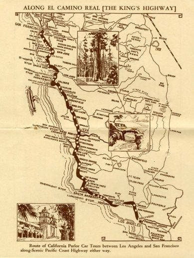 An old travelers map of California's El Camino Real.
